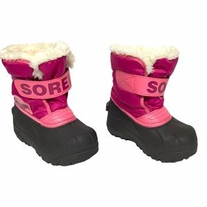 Sorel girls duck boots snow boots, pink, Size 9